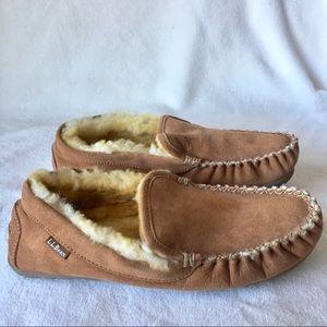 LL bean sheepskin shearing slippers loafer mens 10